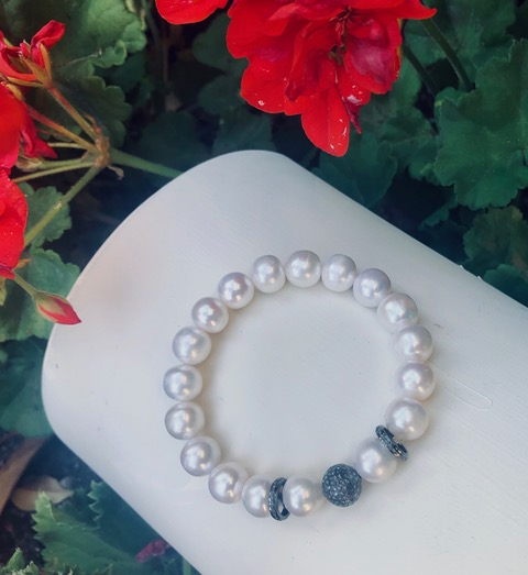 Freshwater Pearls with Black Pave Diamonds