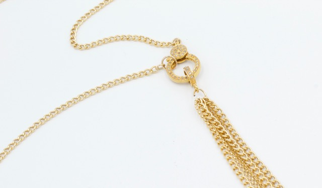 Cable Chain Lariat with Diamond Clasp