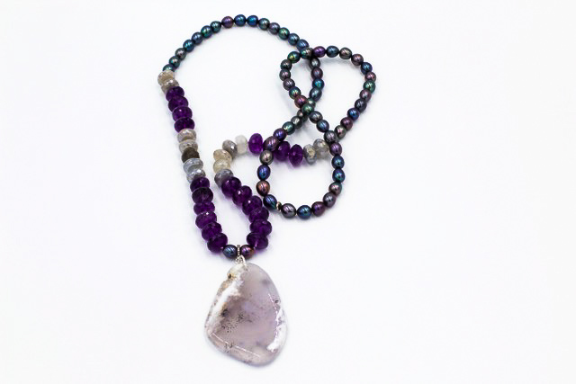 """Amethyst and Labradorite gem stones with peacock pearls. 2"""" polished gemstone drop Length 32"""""""