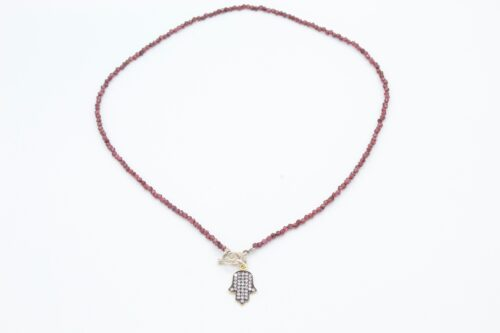 Garnnett Necklace with Hamsa Charm
